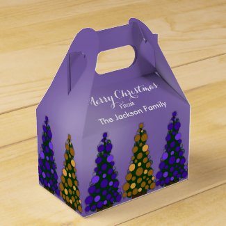 Purple And Gold Christmas Tree Favor Box