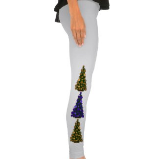 Purple And Gold Christmas Tree Leggings