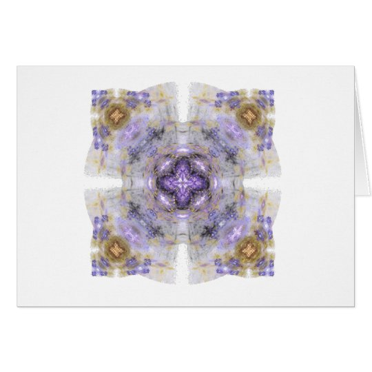 Purple and Gold Circle Square Fractal Art Design Card