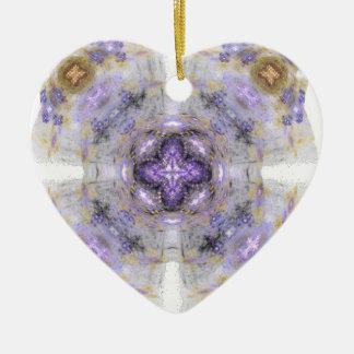 Purple and Gold Circle Square Fractal Art Design Ceramic Ornament