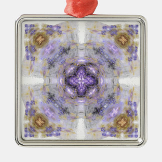 Purple and Gold Circle Square Fractal Art Design Metal Ornament
