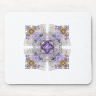 Purple and Gold Circle Square Fractal Art Design Mouse Pad