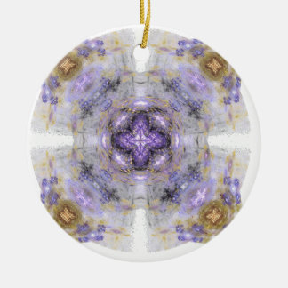 Purple and Gold Circle Square Fractal Art Design Christmas Ornament