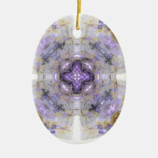 Purple and Gold Circle Square Fractal Art Design Christmas Tree Ornament