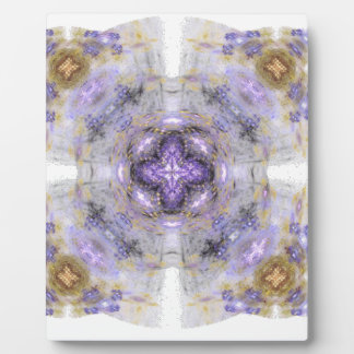 Purple and Gold Circle Square Fractal Art Design Plaques