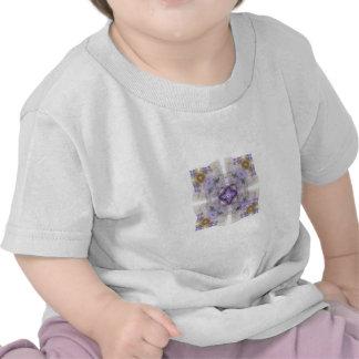 Purple and Gold Circle Square Fractal Art Design Tshirts