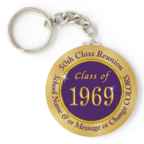 Purple and Gold Class of 1969 Reunion Party Favors Keychain