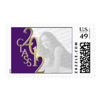 Purple and Gold Class of 2012 Graduation Photo Postage