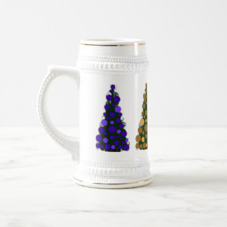 Purple and Gold Colored Christmas Tree Stein