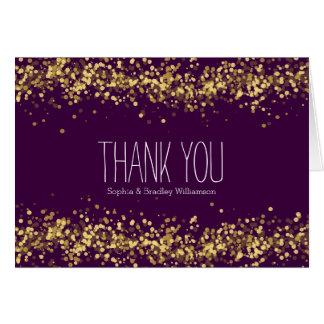 Purple and Gold Confetti Bokeh Thank you Card
