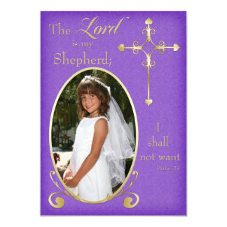 Purple and Gold Cross Photo Communion Announcement