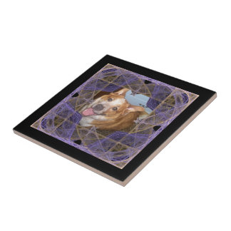 Purple and Gold Crossed Points Frame Tile