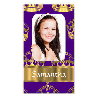 Purple and gold crown business card