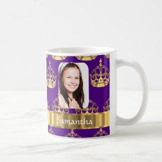 Purple and gold crown personalized photo coffee mug