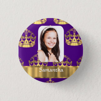Purple and gold crown personalized photo pinback button