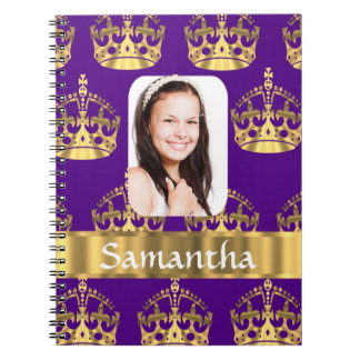 Purple and gold crown photo template notebook