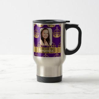 Purple and gold crown photo template travel mug