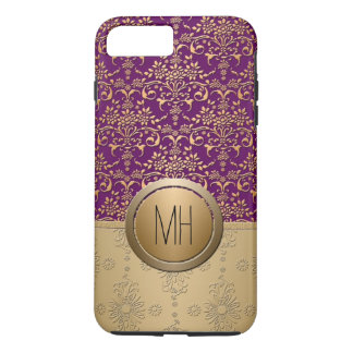 Purple and Gold Damask Custom Monogram Pattern iPhone 7 Plus Case