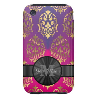 Purple and gold damask personalized monogram tough iPhone 3 covers