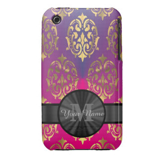 Purple and gold damask personalized monogram iPhone 3 case