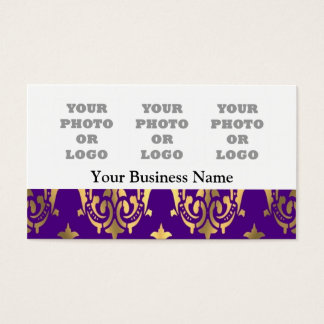 Purple and gold damask photo logo template business card
