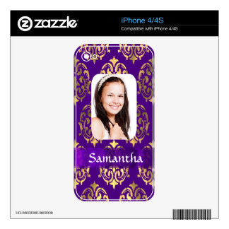 Purple and gold damask photo template iPhone 4 decal