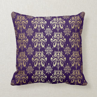Purple and Gold Damask Pillow by Julia Bars