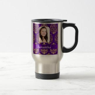 Purple and gold damask travel mug