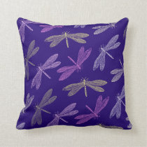Purple and Gold Dragonfly Pattern Throw Pillow
