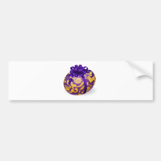 Purple and gold Easter Egg With Bow Bumper Stickers