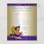 """Purple and Gold Ethnic Girl Baby Shower Games<br><div class=""""desc"""">Purple and gold baby shower games with adorable ethnic baby girl wearing a pretty purple tutu and string of pearls on a pair of elegant gold high heel shoes. This cute baby shower game card has baby word scramble on one side, and nursery rhyme quiz on the other. This adorable...</div>"""