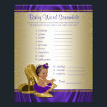 """Purple and Gold Ethnic Girl Baby Shower Games Flyer<br><div class=""""desc"""">Purple and gold baby shower games with adorable ethnic baby girl wearing a pretty purple tutu and string of pearls on a pair of elegant gold high heel shoes. This cute baby shower game card has baby word scramble on one side, and nursery rhyme quiz on the other. This adorable...</div>"""