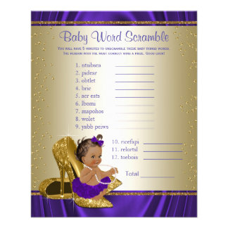 Purple and Gold Ethnic Girl Baby Shower Games Flyer