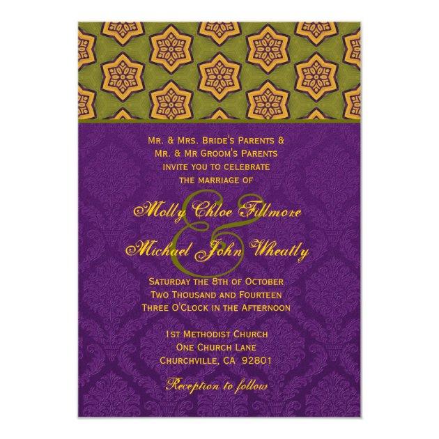 Purple and Gold Ethnic Pattern Wedding H629 Card | Zazzle