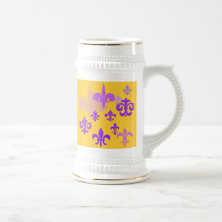 Purple and Gold Fleur de Lis Beer Stein