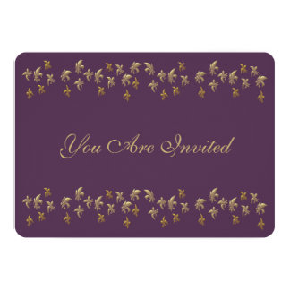 Purple and Gold Fleur de Lis Confetti Card