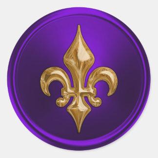 Purple and Gold Fleur de Lis Envelope Seal Classic Round Sticker
