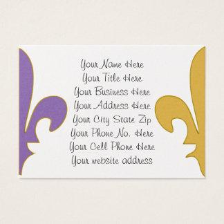 Purple and Gold fleur de lis gifts Business Card