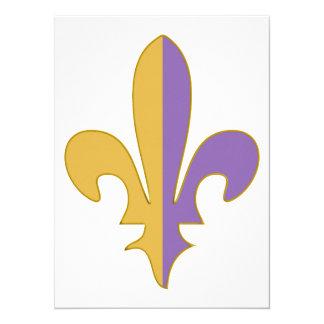 Purple and Gold fleur de lis gifts Card