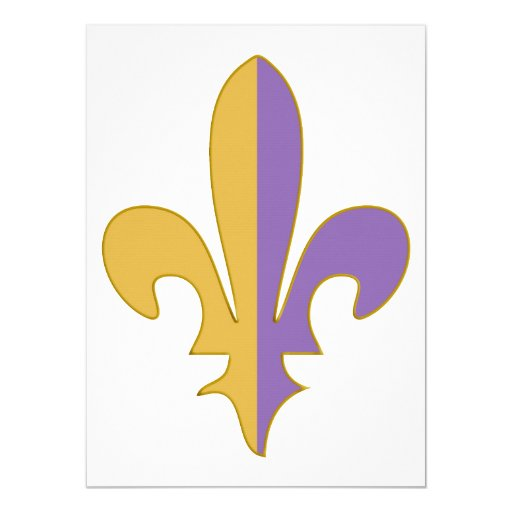 Purple and Gold fleur de lis gifts 5.5x7.5 Paper Invitation Card