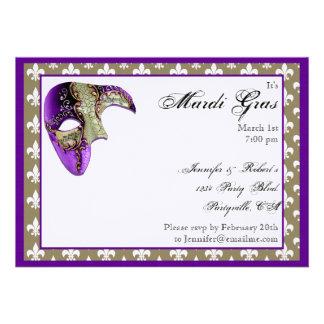 Purple and Gold Fleur de Lis Mask Mardi Gras Party Personalized Invitation