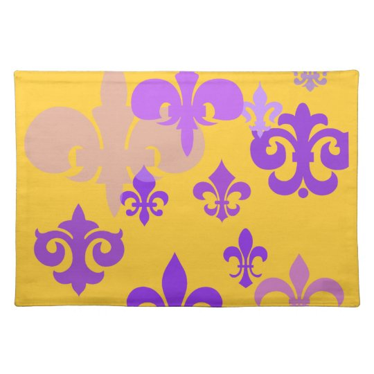 Purple and Gold Fleur de Lis Placemat