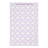 Purple and Gold Fleur de lis Stationery