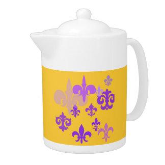 Purple and Gold Fleur de Lis Teapot