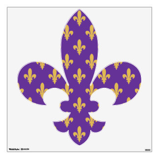 Purple and Gold fleur de lis Wall decal