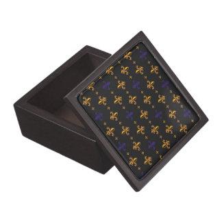 Purple and Gold Fleurs de Lis Keepsake Box