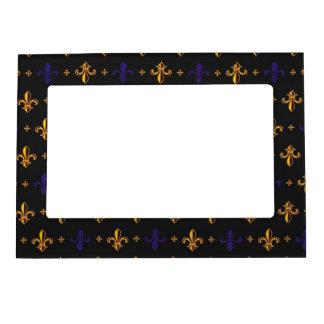 Purple and Gold Fleurs de Lis Magnetic Frame