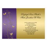 Purple and Gold Floral Butterflies Wedding Custom Announcement