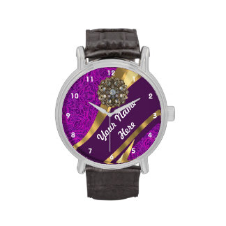 Purple and gold floral damask pattern wrist watches