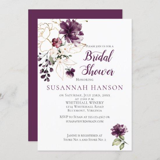 Purple and Gold Floral Framed Bridal Shower Invitation